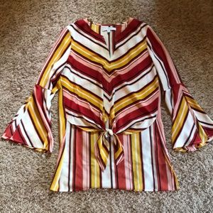 Chevron striped crepe top